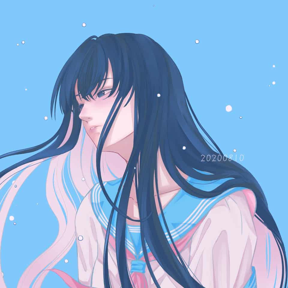 藍 Illust of xiuxiu1025 制服女子 girl 藍色