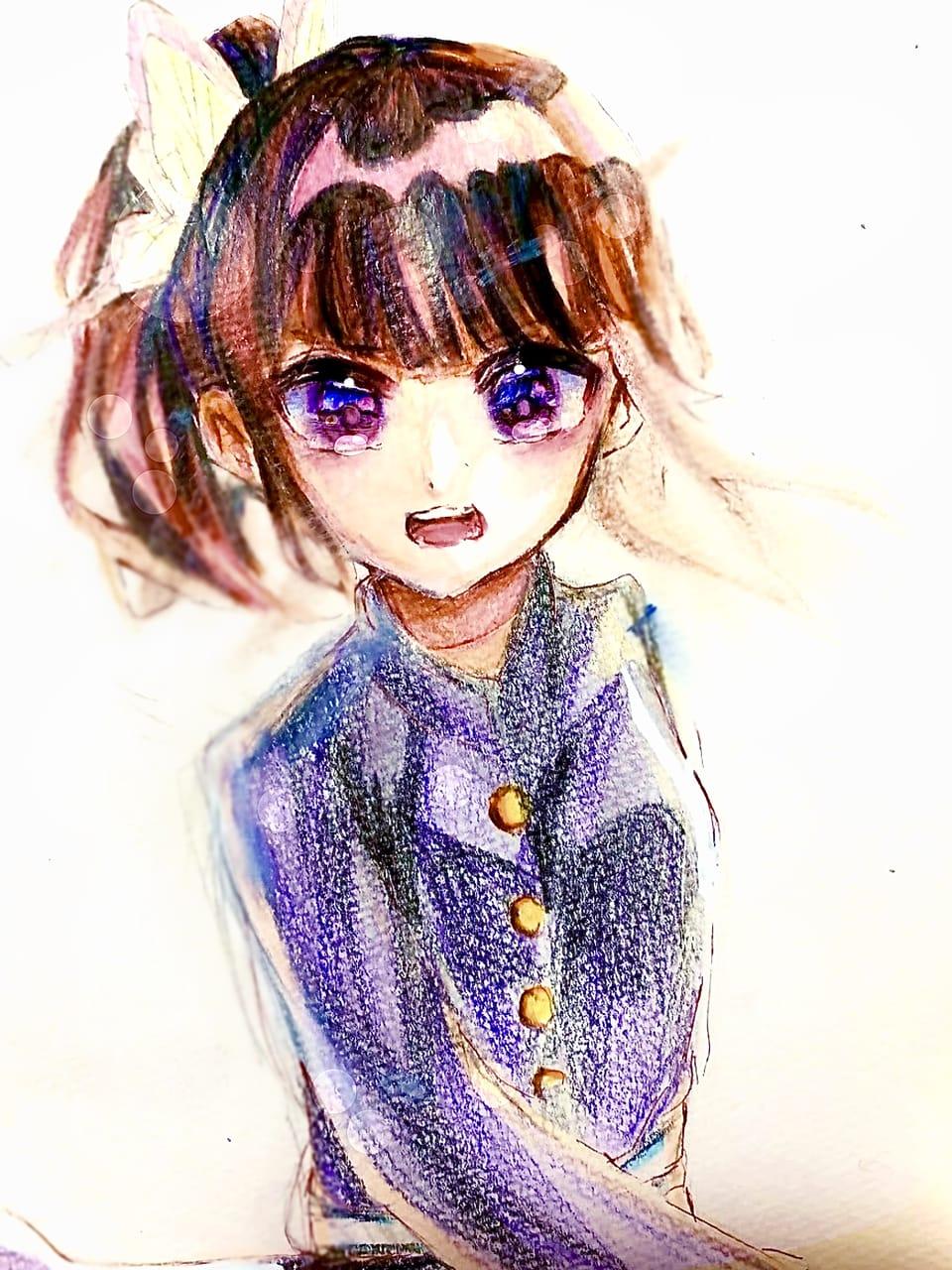 カナヲ Illust of フラミパン doodle coloredpencil TsuyuriKanao 過去絵 アナログ KimetsunoYaiba
