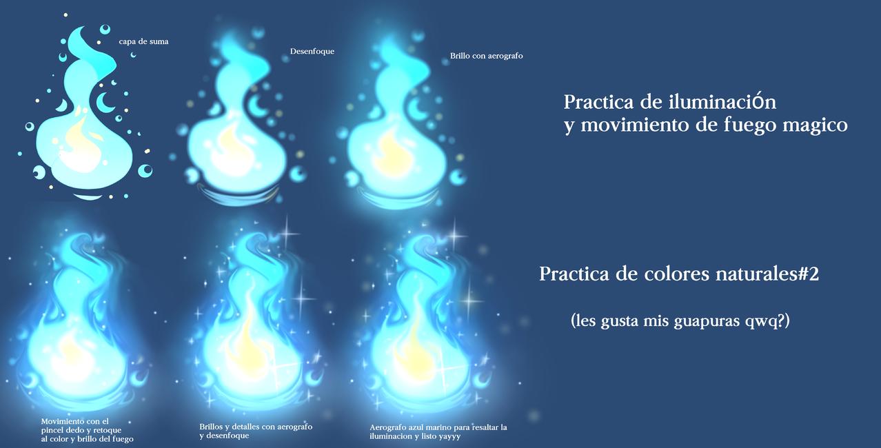 Practica y tutorial de iluminación#2 Illust of MirelleGallery✨ The_Challengers fantasy illustration blue Guide light art fire medibangpaint
