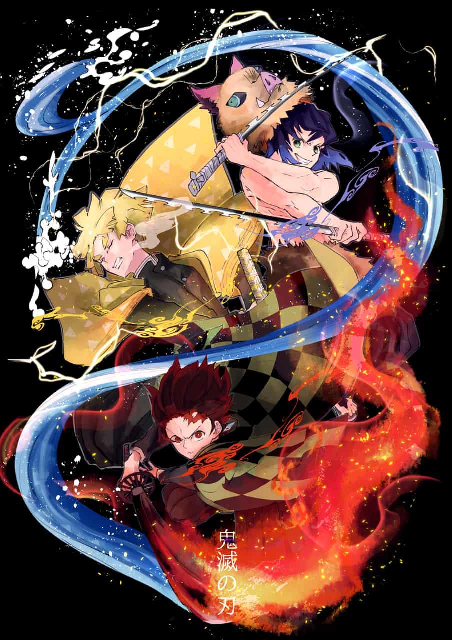 鬼滅の刃 Illust of カラスロ DemonSlayerFanartContest KamadoTanjirou KimetsunoYaiba HashibiraInosuke AgatsumaZenitsu