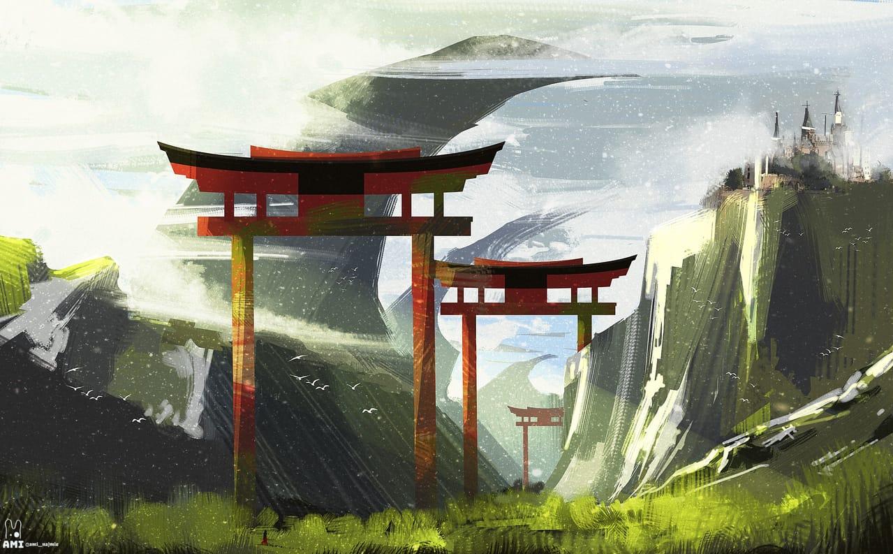 Tall Shinto Illust of ami_najmie February2021_Fantasy illustration visualart painting Shinto digital concept Japan Conceptart digitalpainting art