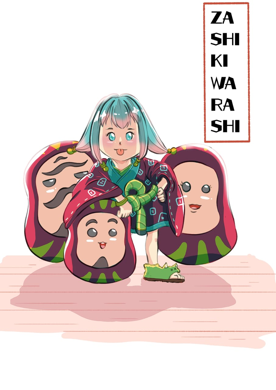 Zashiki warashi and her daruma Illust of Wutikai March2021_Creature cute Japanese_style yokai oc girl cutegirl