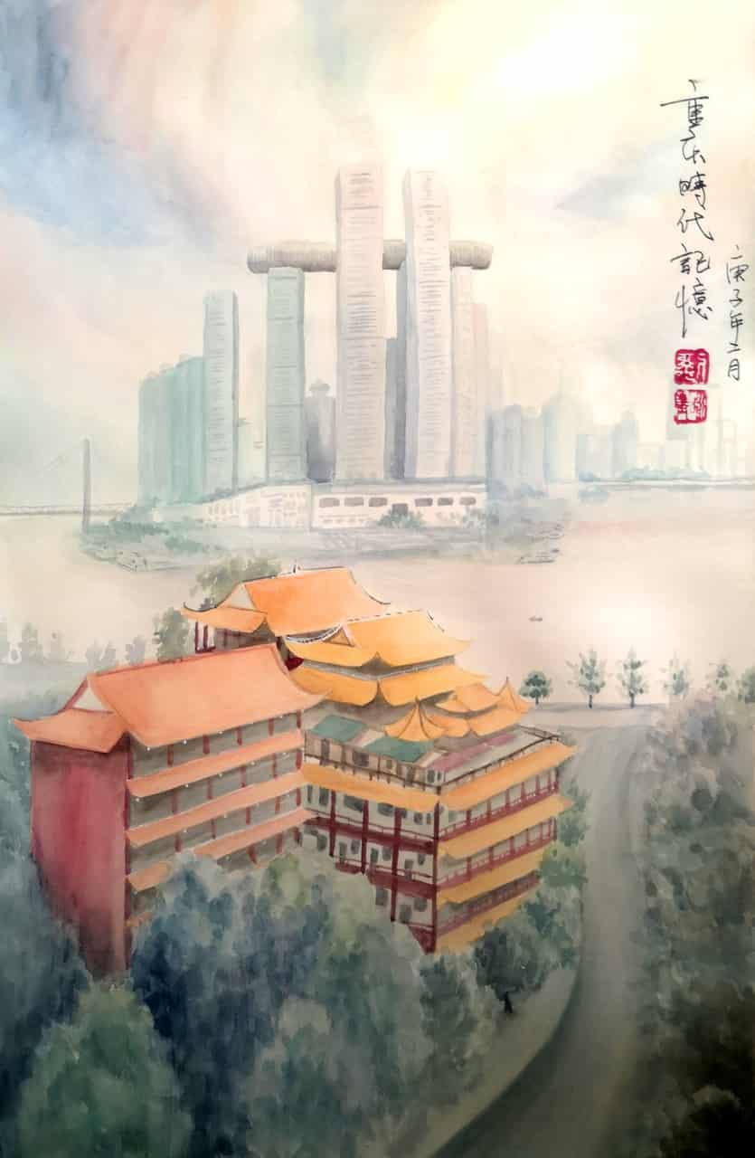 建筑(重庆码头)重庆时代记忆 Illust of 流水静 brag.your.country handdrawn 水彩画 scenery illustration 重庆 建筑