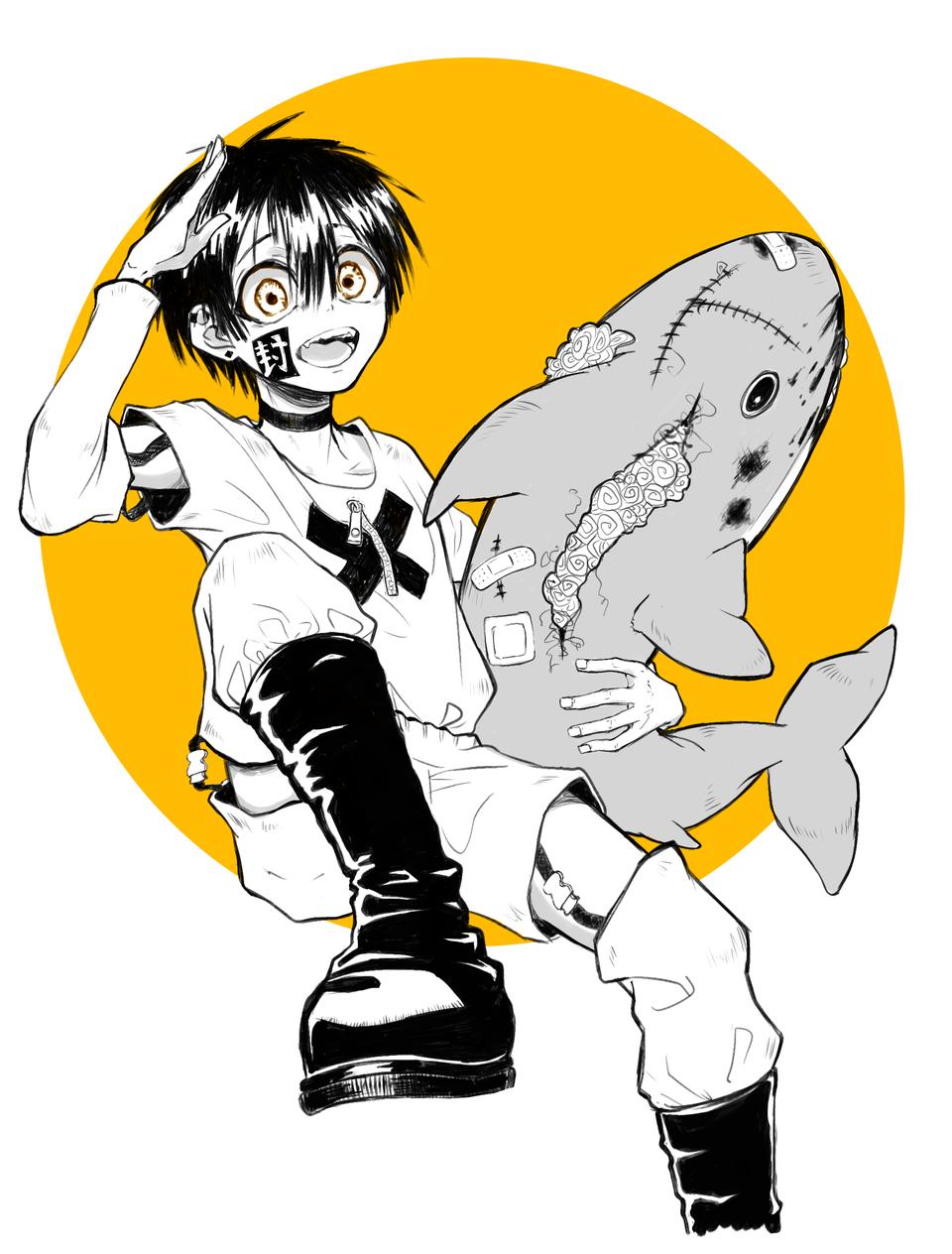 Tsukasa Illust of nikuoni medibangpaint Toilet-boundHanako-kun Yugitsukasa Shark smile hanakokun