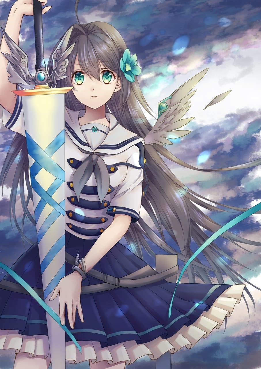 大剣と少女 Illust of 夏草 桜 fantasy February2021_Fantasy 銀髪 創作キャラクター oc オリキャライラスト