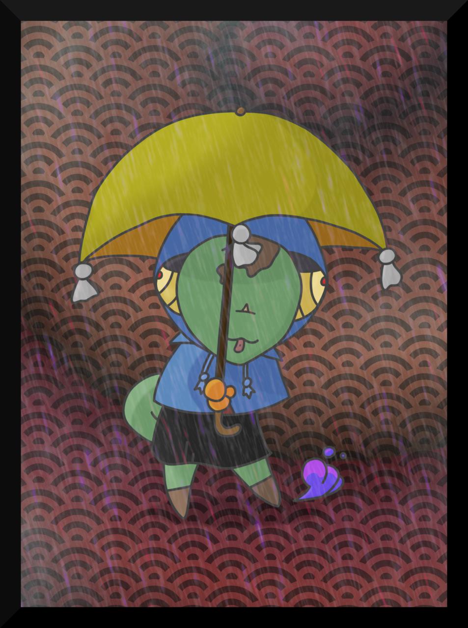 Rainy Daze Illust of CopperNeon August2020_Contest:Horror September2020_Contest:Furry chibi Teru animal chameleon purple rain anime gothic anthro kawaii