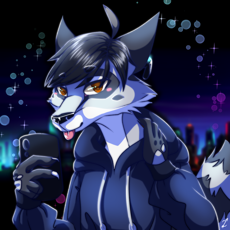 Christmas Gift for a Friend Illust of Zyvra Dragonfyre medibangpaint anime Raccoon blue friend oc hoodie music gift furry