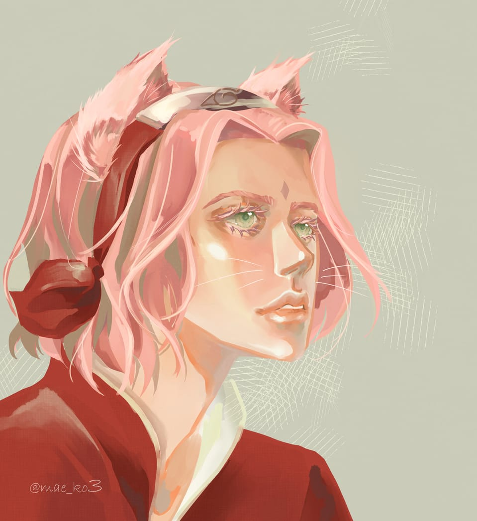 Sakura Haruno Illust of mae_ko3 cat_ears CLIPSTUDIOPAINT fanart pinkhair NARUTO sakura HarunoSakura greeneyes