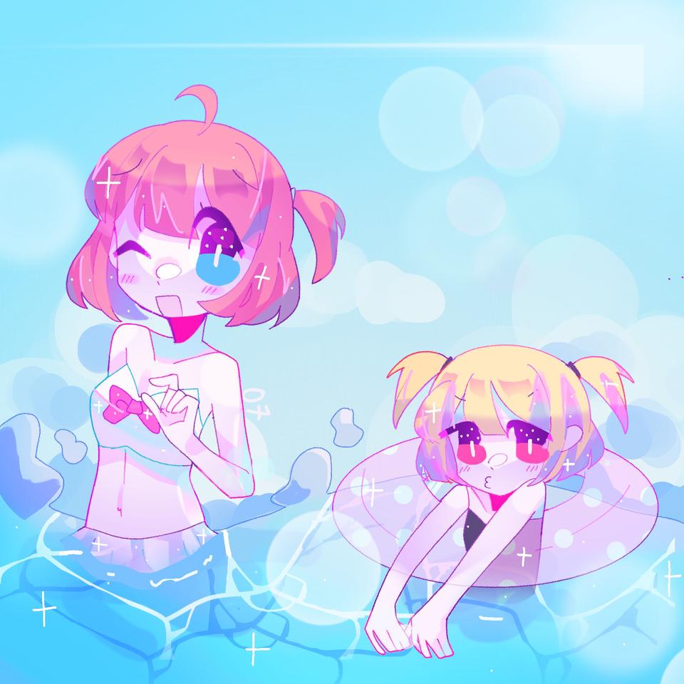 post ?!?!?!??!?!?!>??!? Illust of pErSon July2021_Swimwear original girl beach cute anime ocean