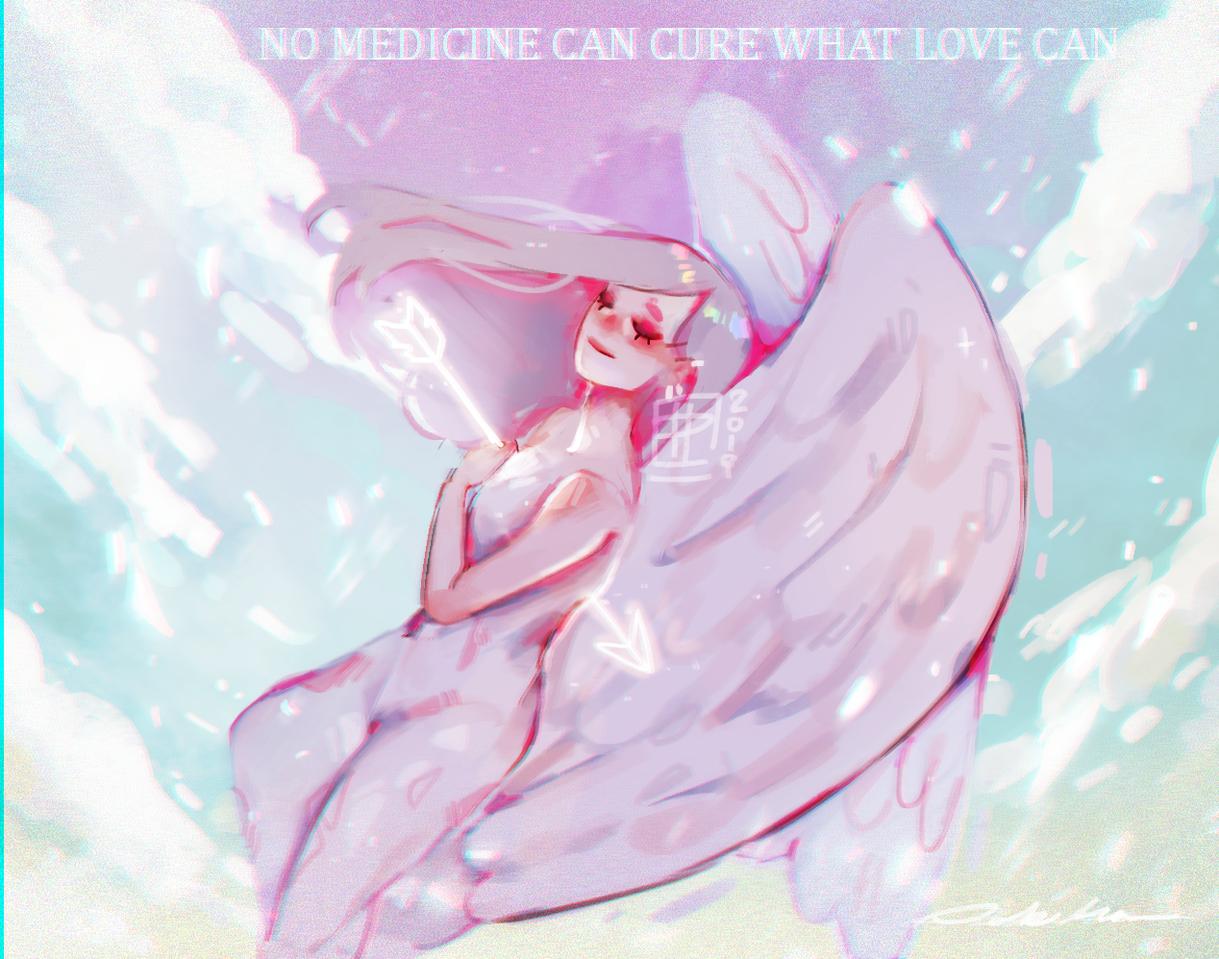 l o v e Illust of poki.han illustration angel shot pastel anime sky pokihan arrow love