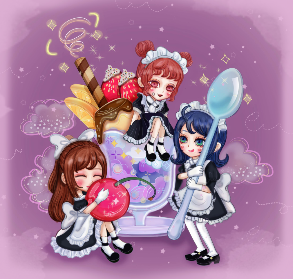 Dreamy Desserts and Maids Illust of 汎汎 ARTstreet_Ranking April.2020Contest:Color Trace&Draw【Official】 art maid kawaii cute illustration Dream sweet