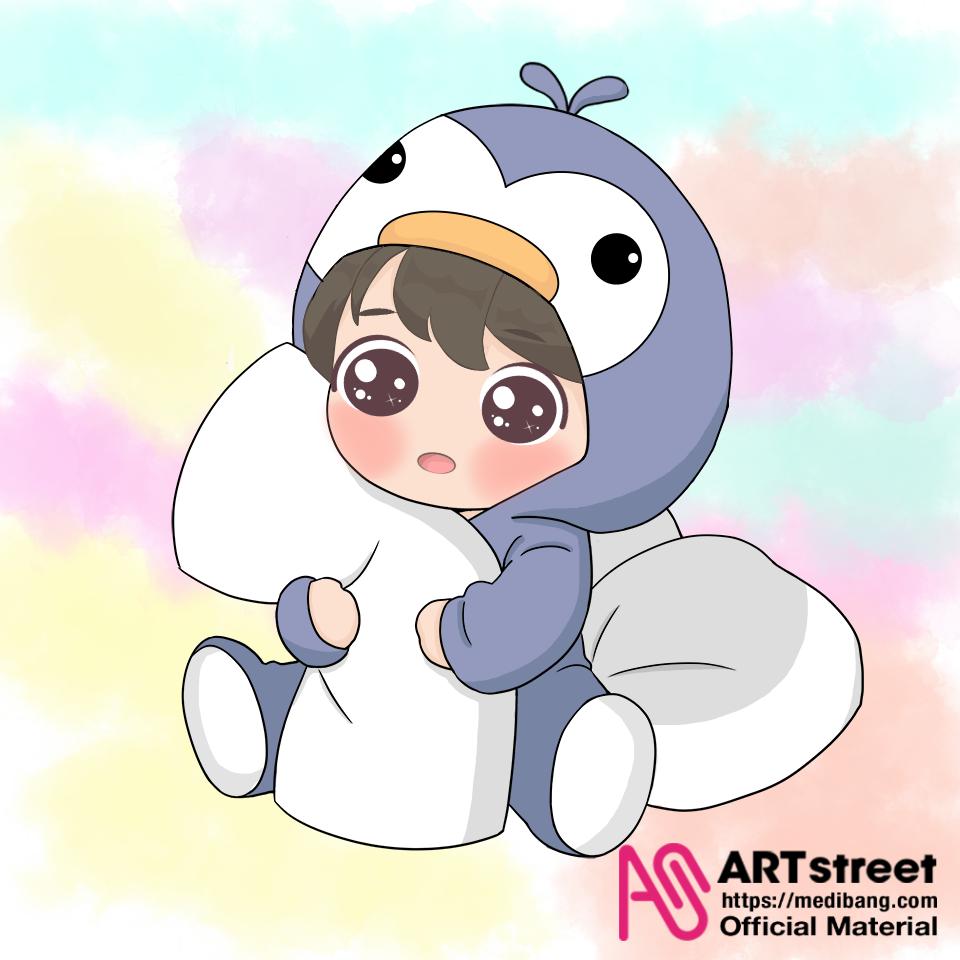 Penguin Baby Illust of riwana_lau tracedrawing4th Trace&Draw【Official】 chibi drawing Penguin digital cute illustration MyArt color medibangpaint