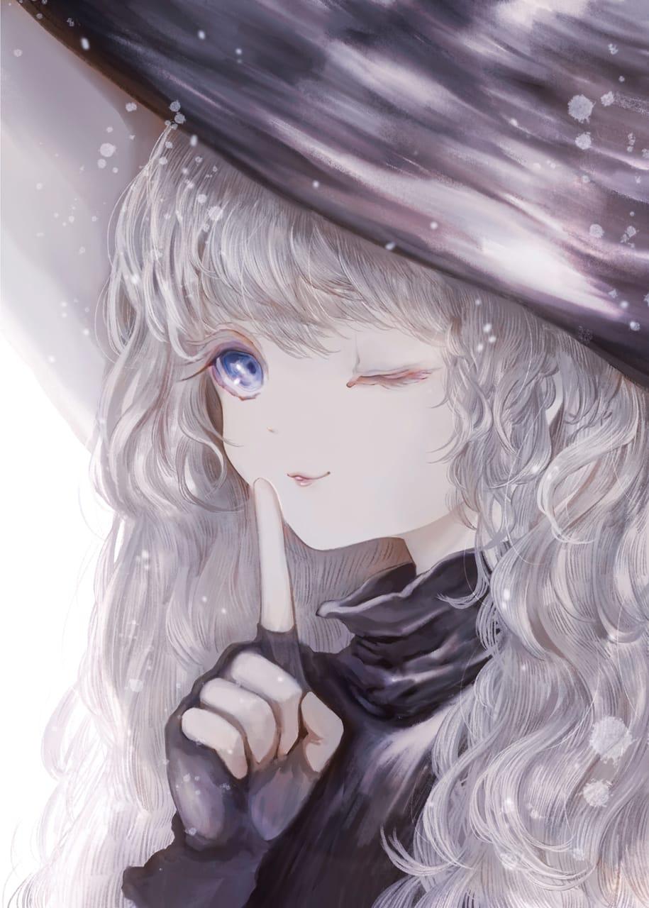 ないしょだよ Illust of 伊砂祐李 (Yuri Isa) original witch white_hair girl 好美