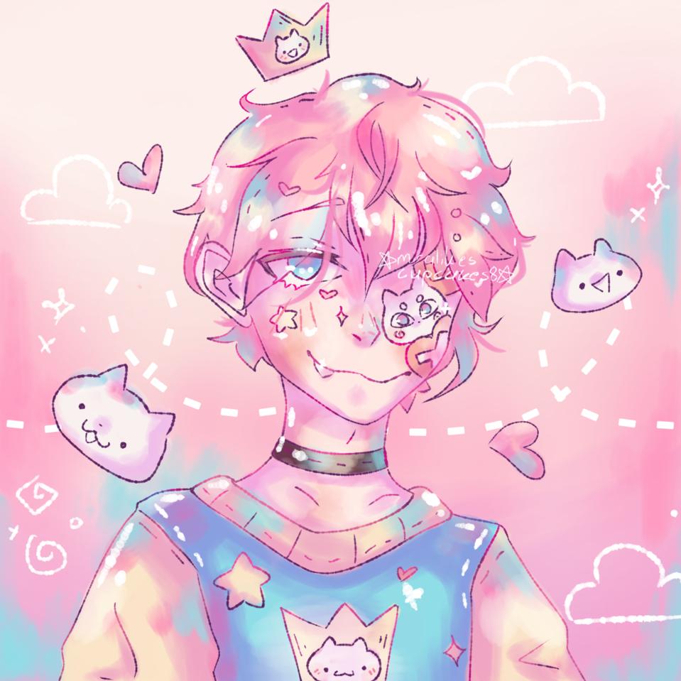 ☆Pastel☆ Illust of ☆miralikescupcakes8☆ pink Miralikescupcakes8 cat IbisPaintX oc boy blue thisartshouldlvlup pastel yellow