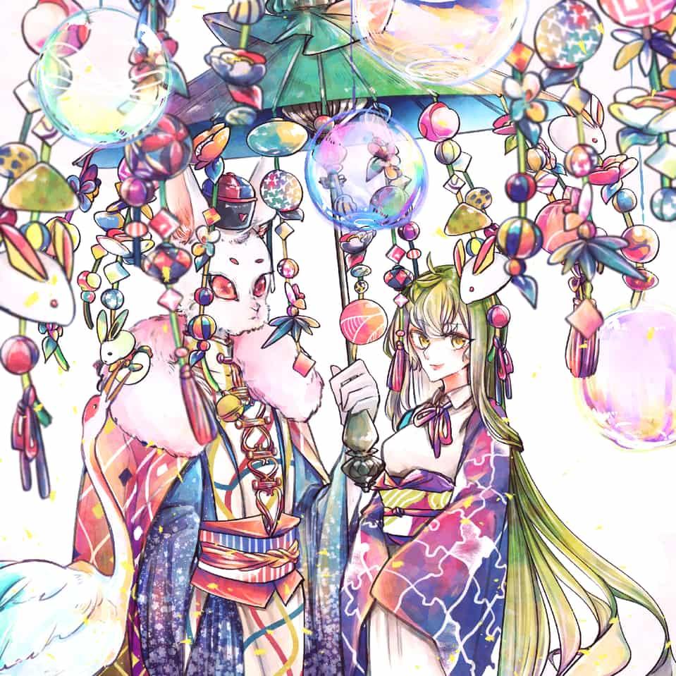 乙女と兎と飾り傘…