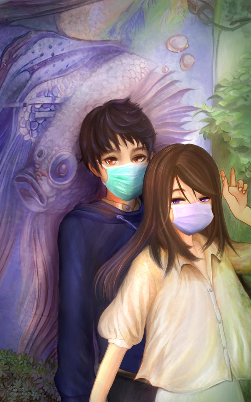 Little couple | 愛畫畫的沐娜 munadrawing Illust of muna MyIdealHusbando MyIdealWaifu_MyIdealHusbandoContest illustration painting boy doodle girl digital
