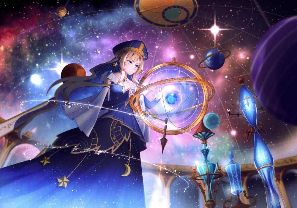 觀星少女 Illust of 亙羽 Gengyu February2021_Fantasy January2021_Contest:OC original space 觀星 oc starry_sky 星星