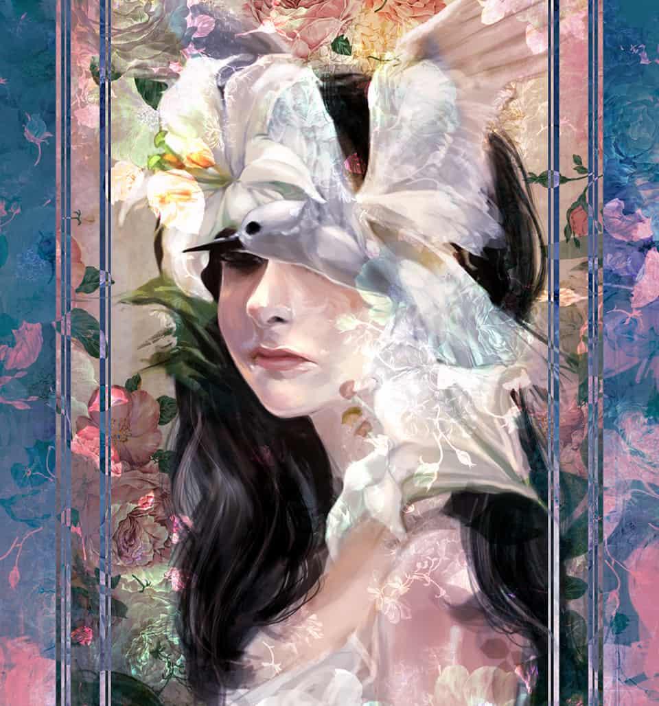 Blossom Illust of ATK birds girl 白鳩 ゆり illustration 黒髪 一瞬 lily flower