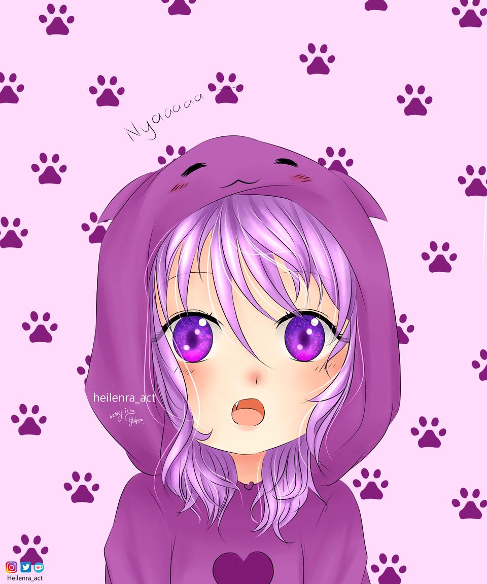 Nyaaaaan Illust of Heilenra_act chibi cat_ears animechibi violet cute hoodie violeteyes animeart medibangpaint