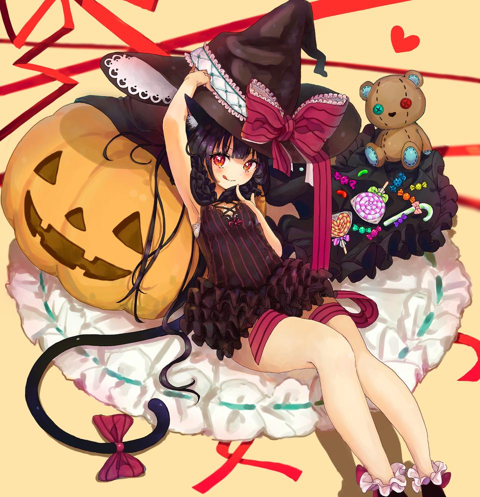 カボチャと魔女っ子 Illust of もぐらもぐもぐ Oct.2019Contest cat_ears witch カボチャ medibangpaint Halloween girl