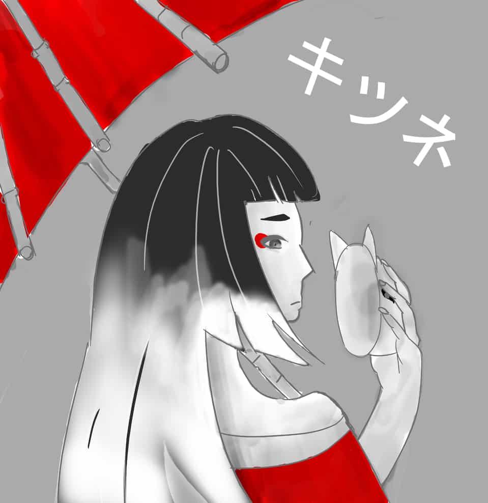 Folklore : Kitsune Illust of SYWang original illustration monochrome oc art red