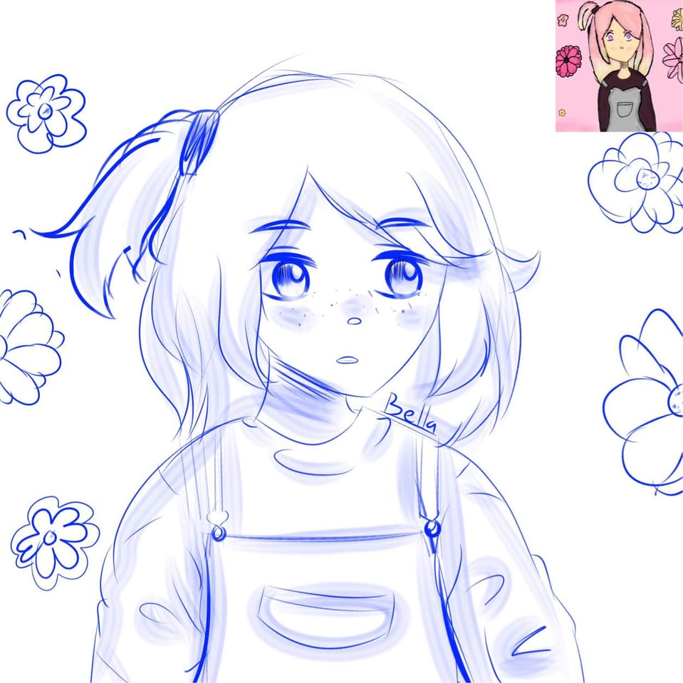 Recreation WIP :) Illust of ꜱᴀᴘᴘʏʙᴇʟʟᴀ • ꜱᴀᴘɴᴀᴘ ᴍᴏᴅᴇ©️ anime thisartshouldlvlup girl Messysketch hair flowers blue Overalls Recreation WIP