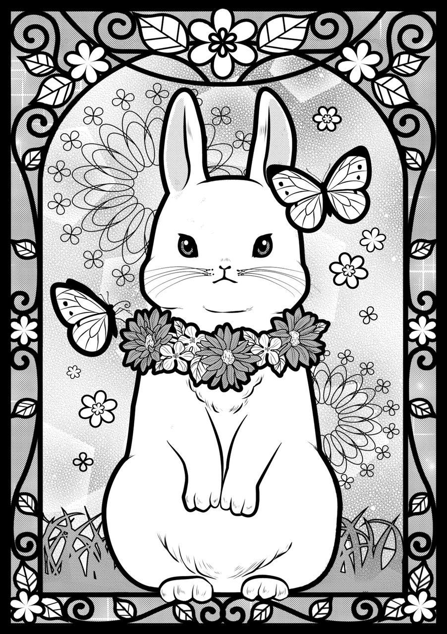 モノクロうさぎ Illust of まろえ May2021_Monochrome original メルヘン kawaii rabbit
