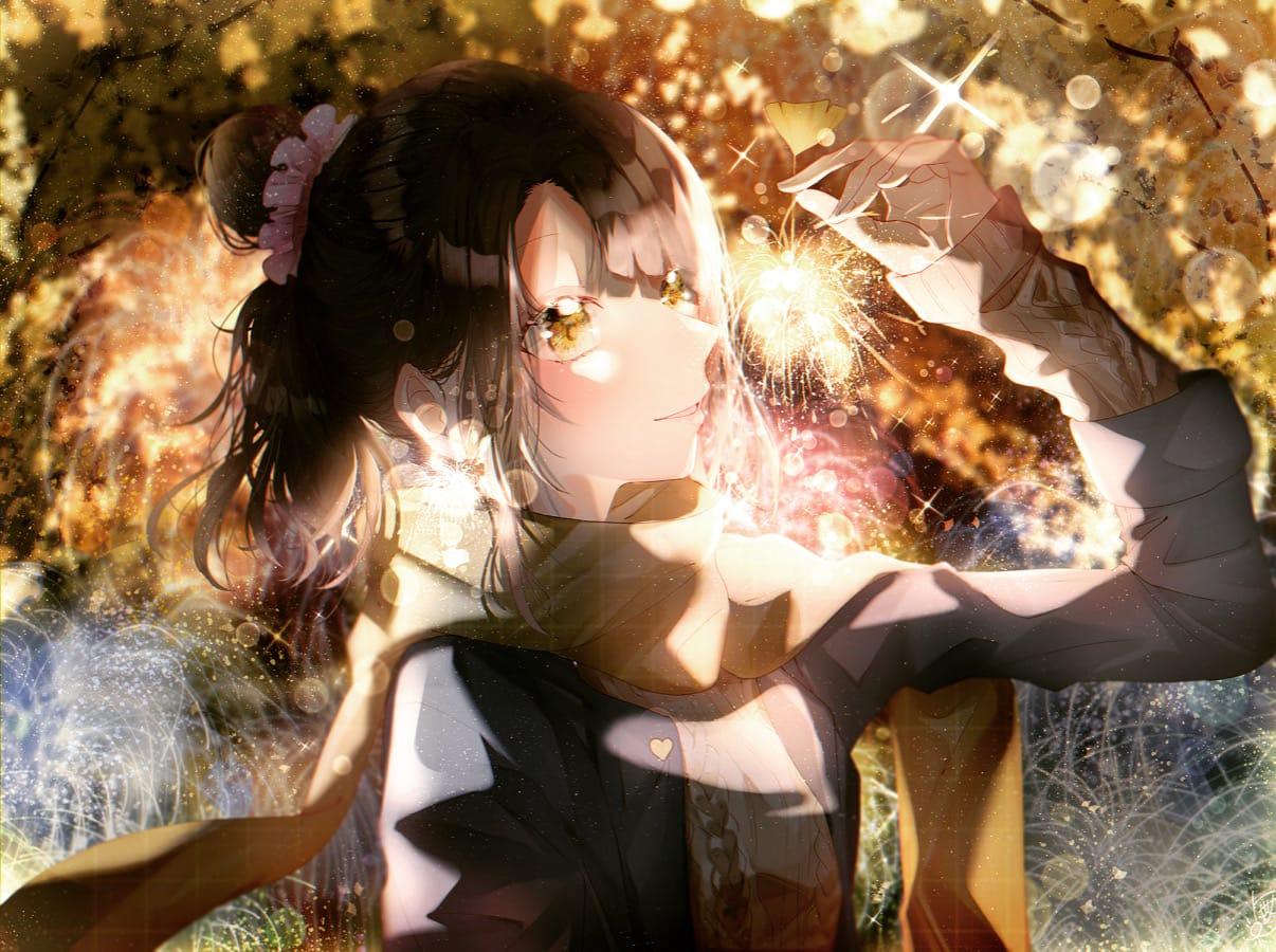 秋の花火🎇 Illust of 都良 original girl 花火 イラストレーション illustration autumn oc