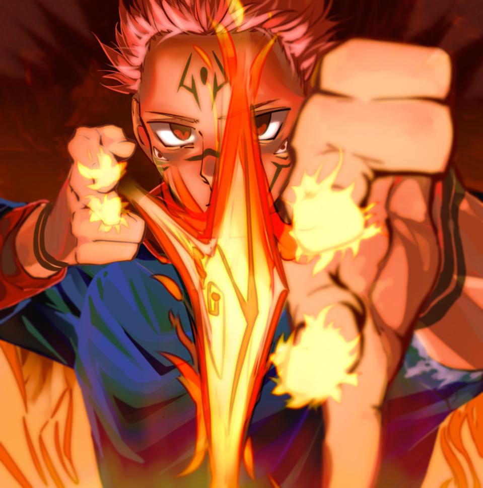The Fire Arrow Illust of Banooo61 JujutsuKaisenFanartContest JujutsuKaisen ShonenJump Ryomensukuna 宿儺 Sukuna Sukunafanart 両面宿儺
