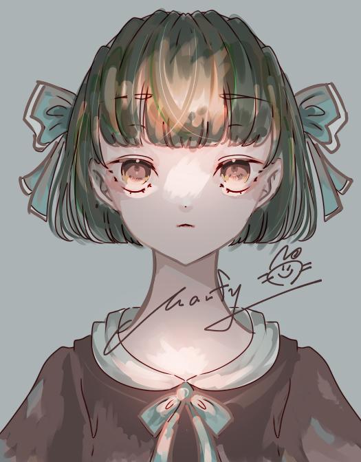 練習 Illust of Marfy portrait メルヘン kawaii girl ribbon