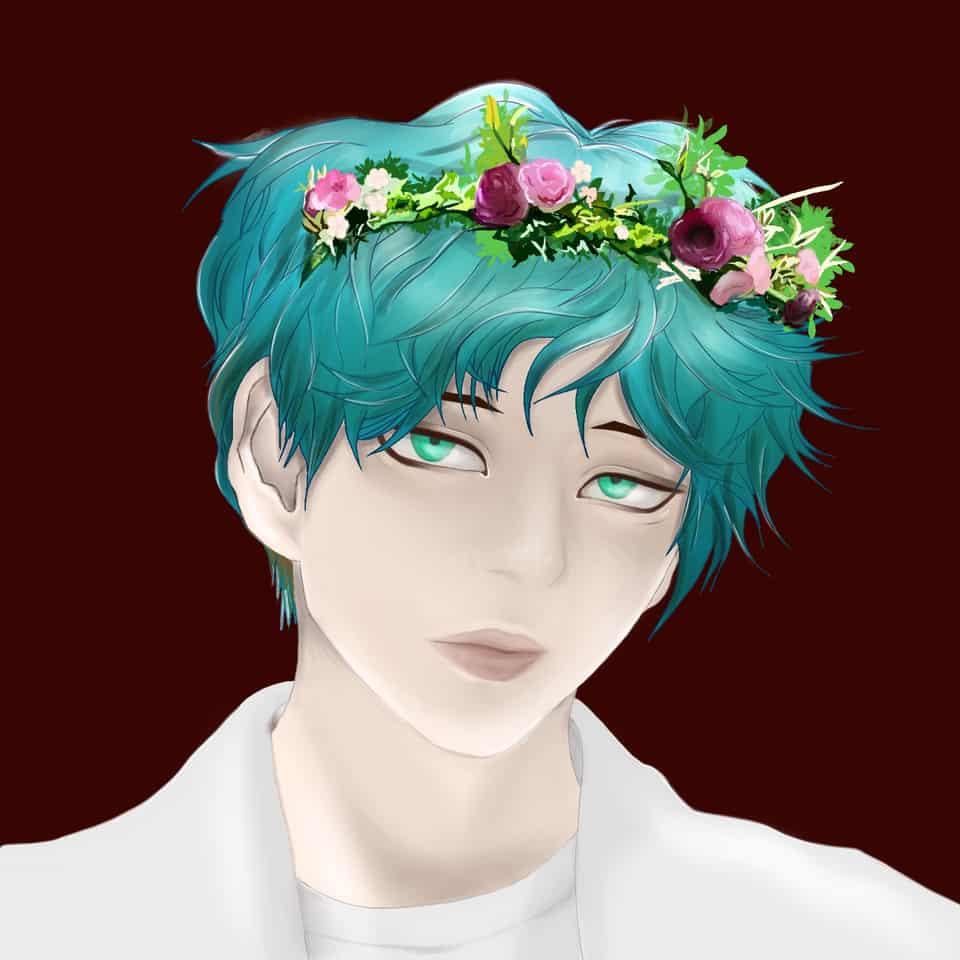 Flower boy Illust of Ivory white_hair freeprofilepic original illustration boy medibangpaint art oc digital