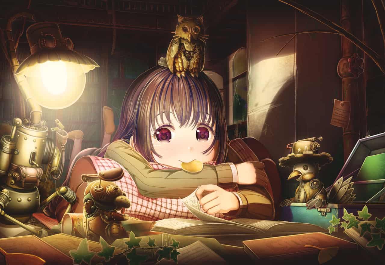 暗い場所で本を読むのは楽しい Illust of あいうあぼ original お菓子 電球 girl 読書