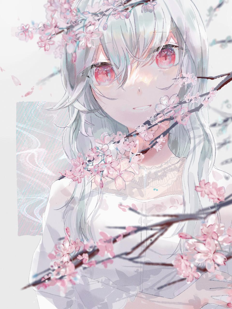 三寒四温 Illust of ねおん* April2021_Flower art sakura flower original illustration pastel