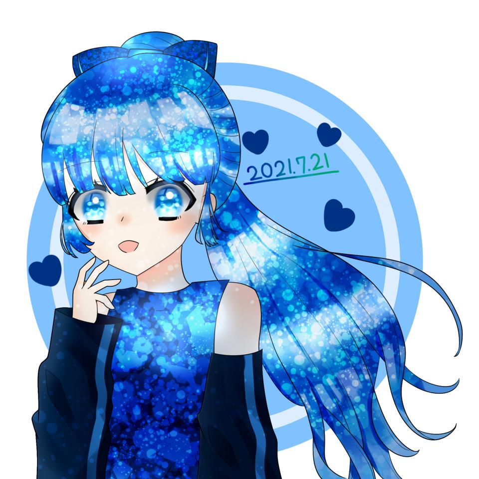 代理ちゃん Illust of ☆やかん☆#めだちゃん推し🍳💛🐱 キラキラ girl アイビスペイント blue 代理