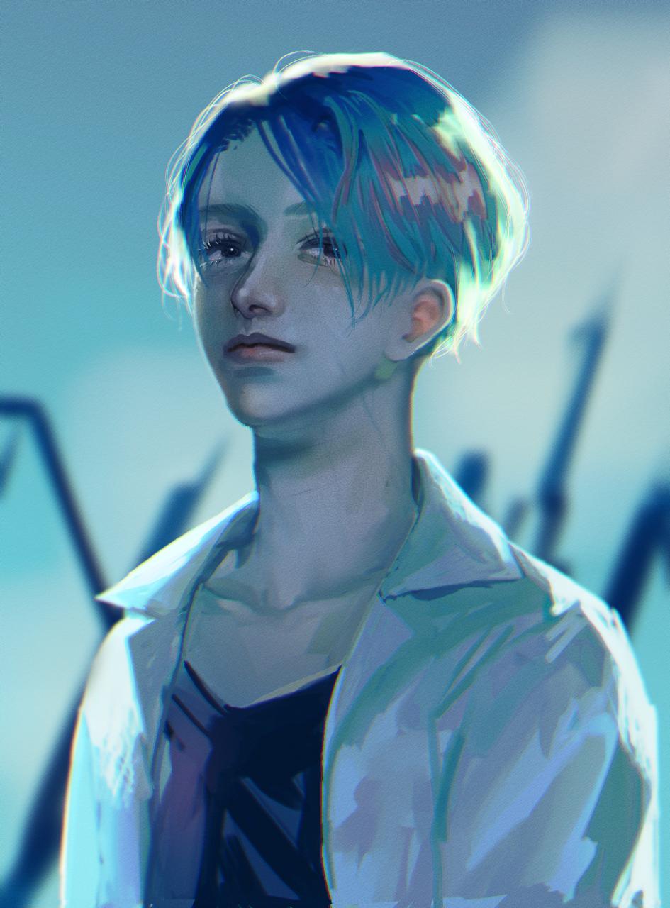 Blue Illust of logA original blue boy impasto