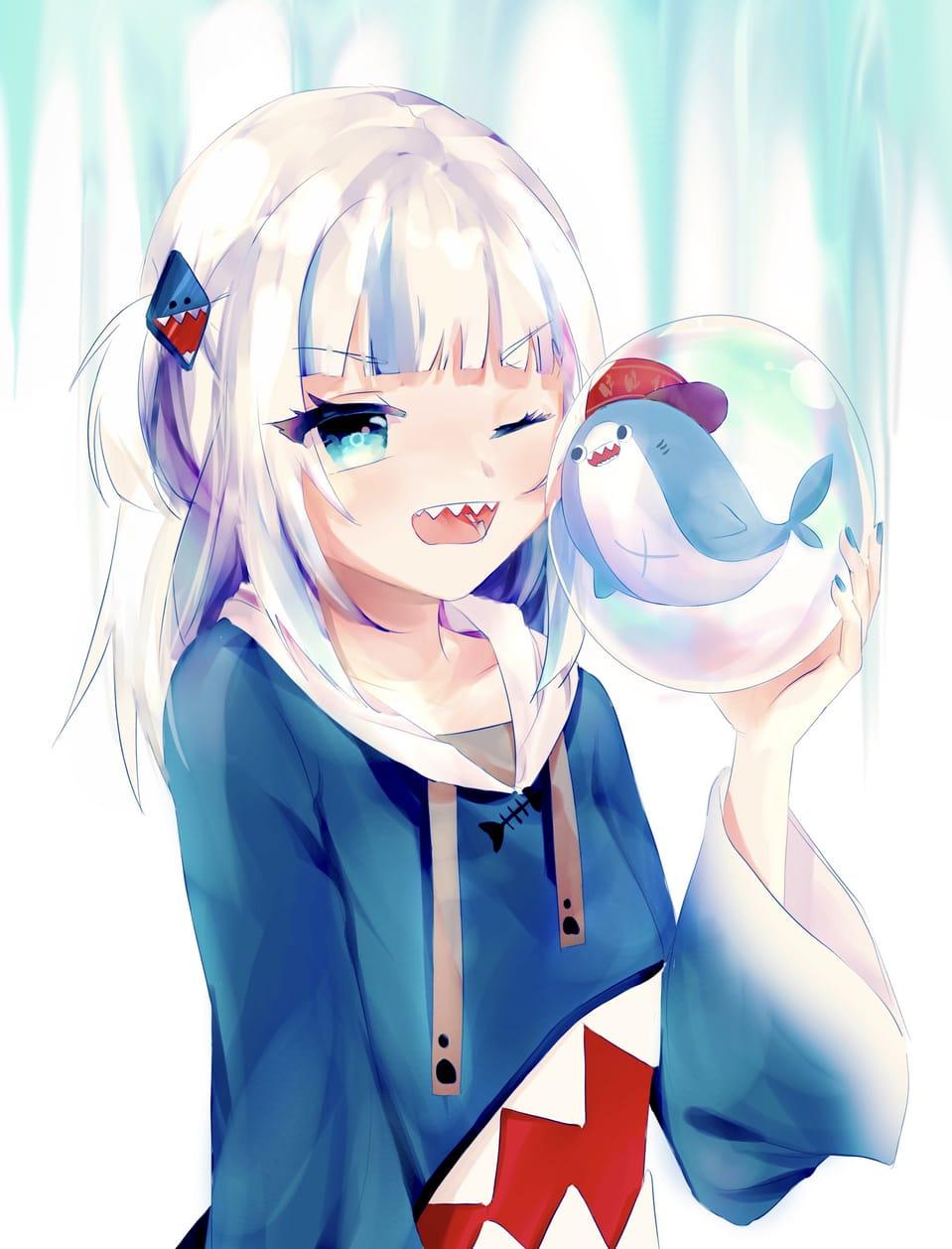 GawrGura Illust of Yuurei鬼 blue virtual_YouTuber fanfic water portrait woman girl Artwork 同人 art