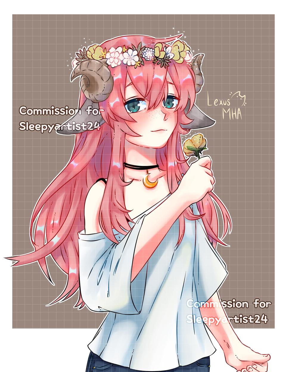 Commission for 》@sleepyartist24 (IG)  Illust of Lex medibangpaint oc pink flowers horns comisión commission
