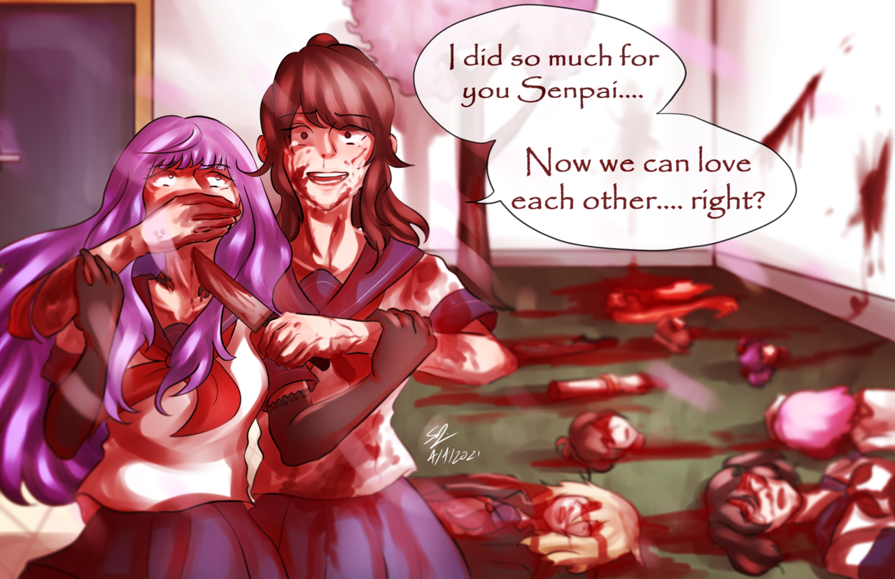 Killing the last rival Illust of Animeartforfun YandereSimulatorFanArtContest yanderesimulator Yandere Senpai animegirl MegamiSaikou Lovesick