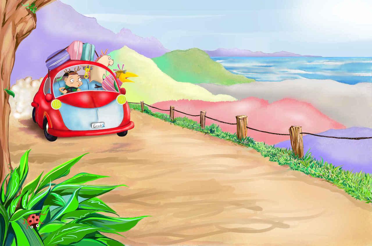 trio3- 海だー! Illust of beach st 海岸 旅行 クルマ