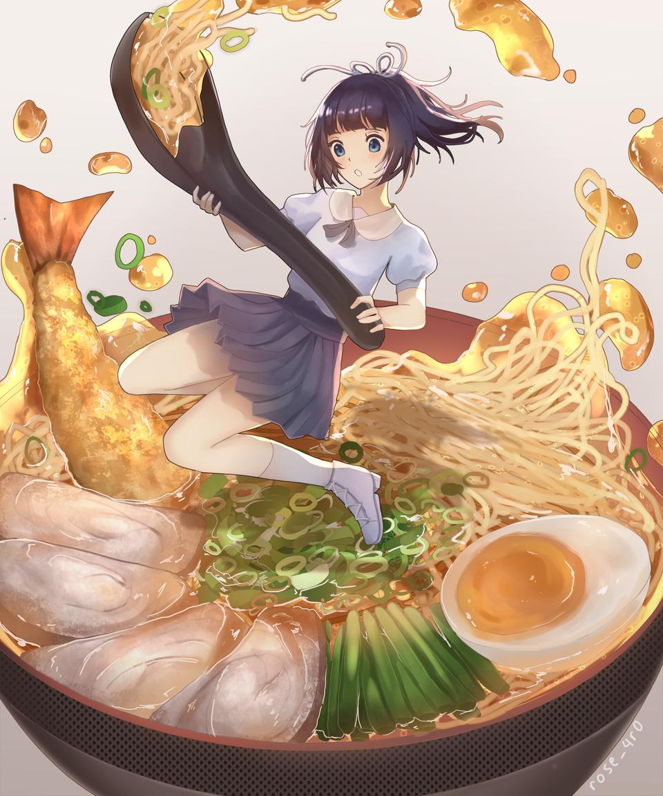 Noodle girl Illust of rose_4r0 October2020_Contest:Food shrimp food noodle