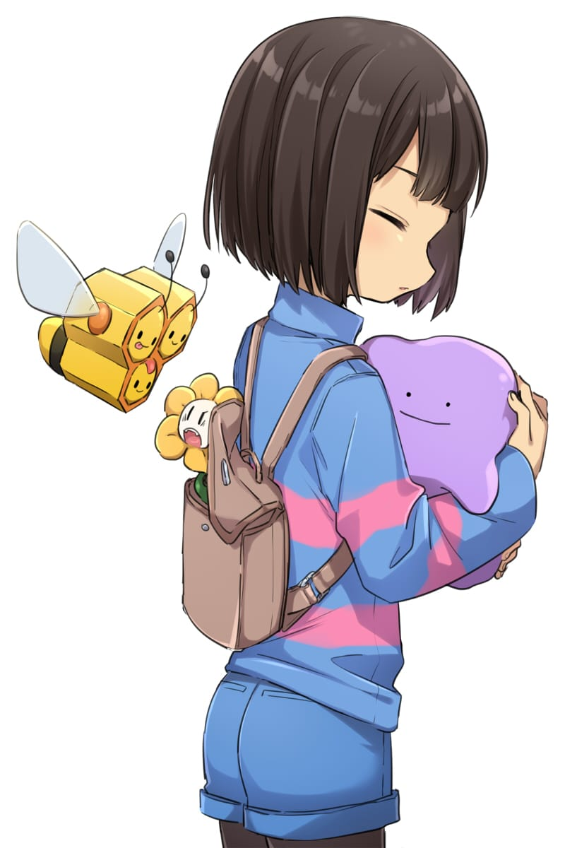 UT×POKEMON Illust of 篠谷すみっこ pokemon fanfic ダブルパロディ Chara undertale fanart Asriel Frisk