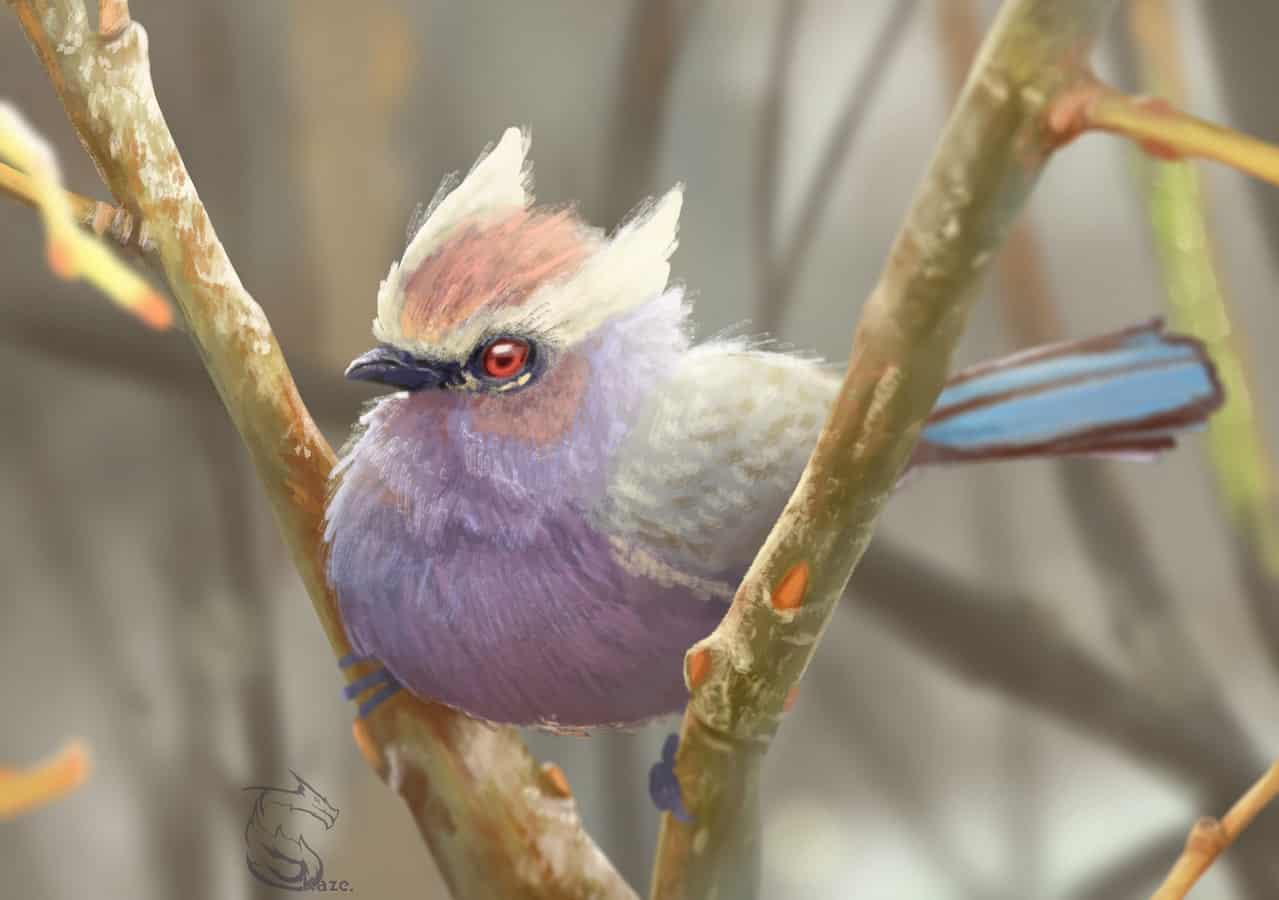 Smol Birb Illust of Kazecoo illustration birds medibang art drawing photoshop digital