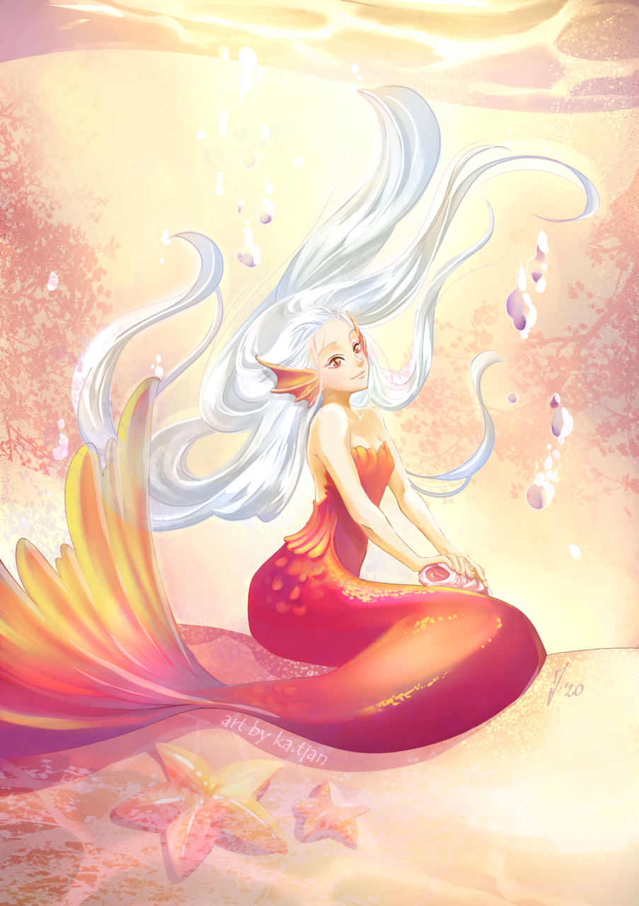 Golden mermaid Illust of ka.tjan April.2020Contest:Color ARTstreet_Ranking mermaid medibangpaint sea kawaii mermay