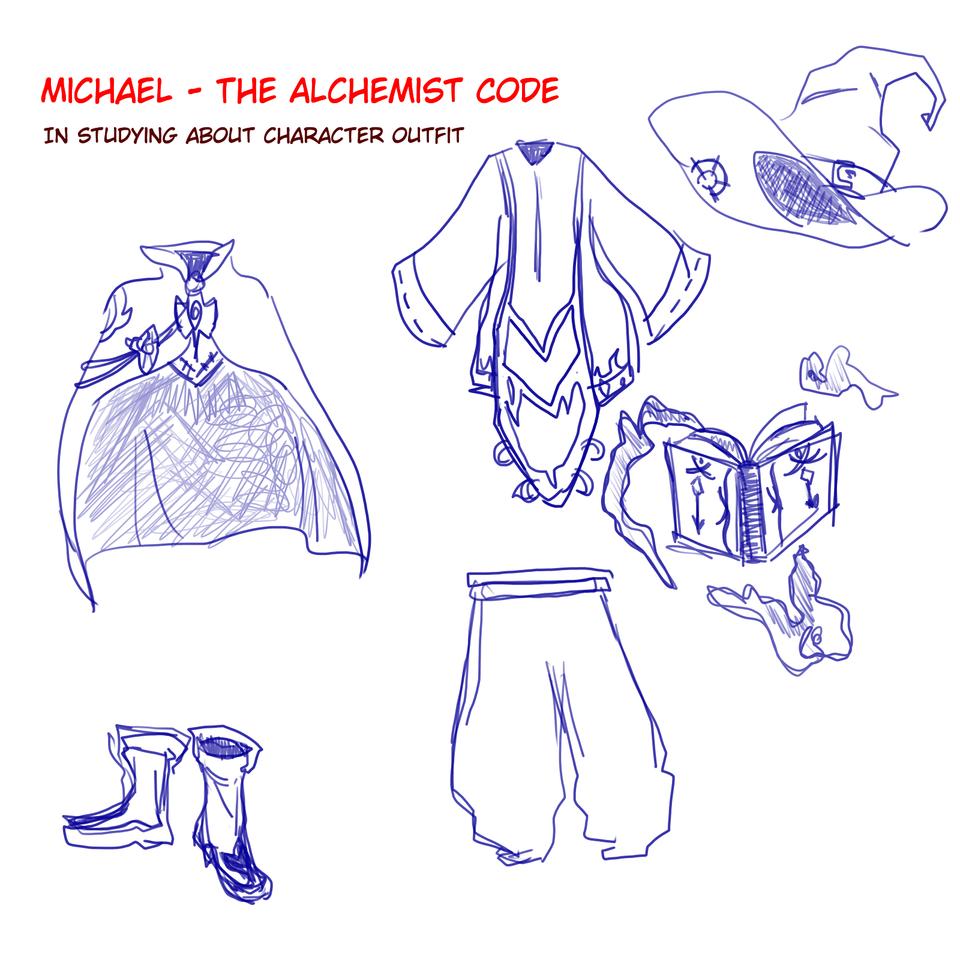 Michael Outfit Illust of Mera Viola michael mage thealchemistcode jumppaint sage tagatamenoalchemist outfitdesign