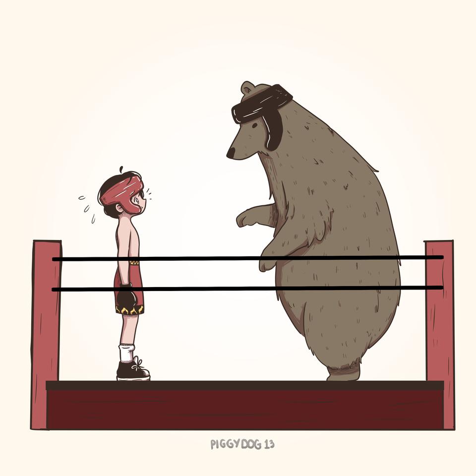 Ready? Fight! Illust of PiggyDog13 medibangpaint fight boxingmatch boxing bear boxingring ready