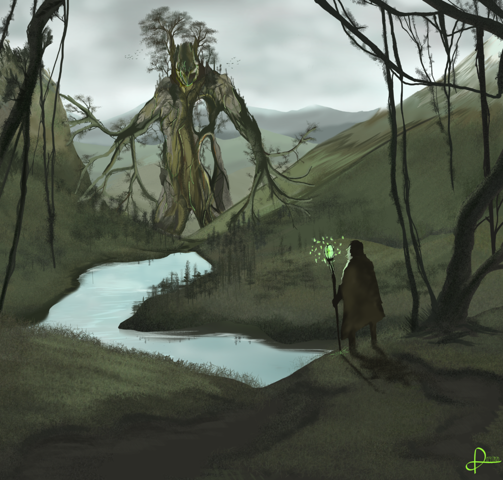 A new start Illust of Den-Art February2021_Fantasy giant magic green