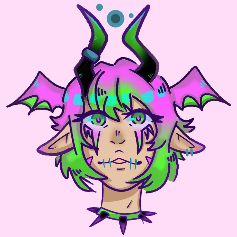 Demon egirl..? Illust of Paper medibangpaint Horns demon Spike pink Egirl green