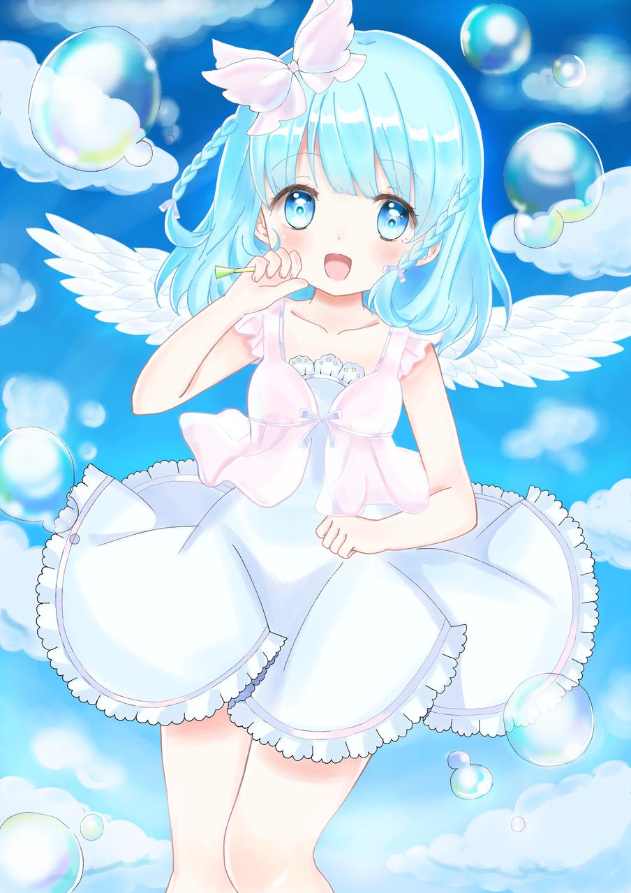 Sky Blue Illust of Sumble medibangpaint blue angel Bubbles sky girl