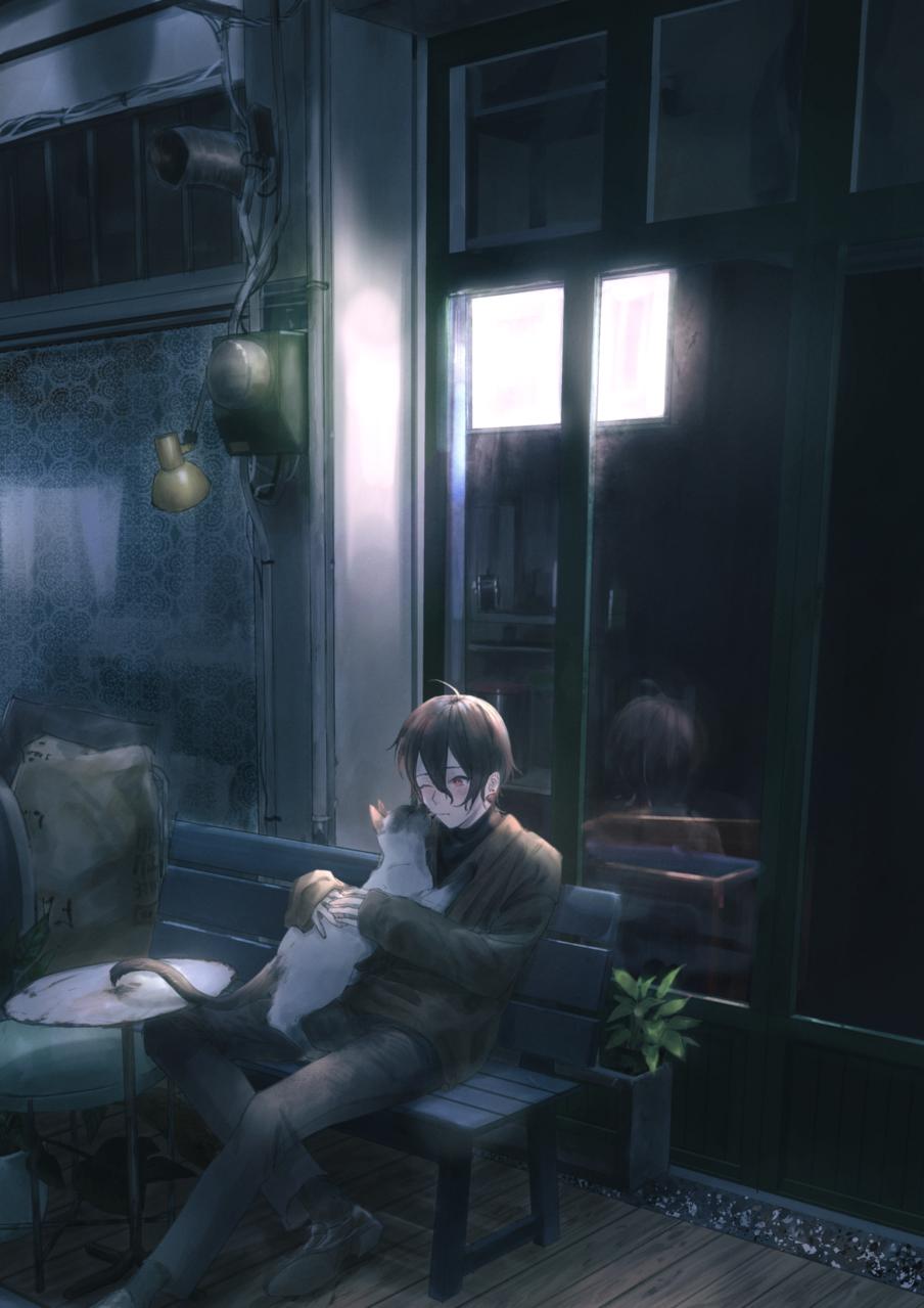 猫と Illust of 杏柚 boy cat oc original