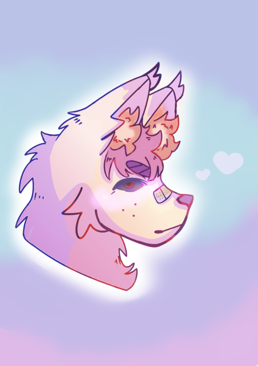 Some doggo Illust of Paper medibangpaint pink dog purple cute blue fluffy